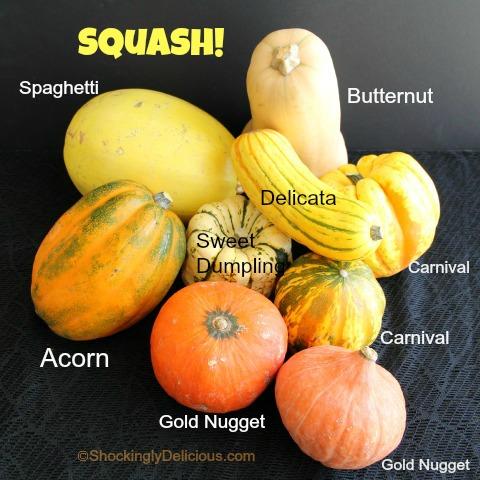 Squash varieties on Shockingly Delicious