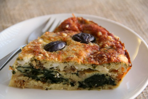 Spinach Feta Greek Impossible Pie on the blog Shockingly Delicious