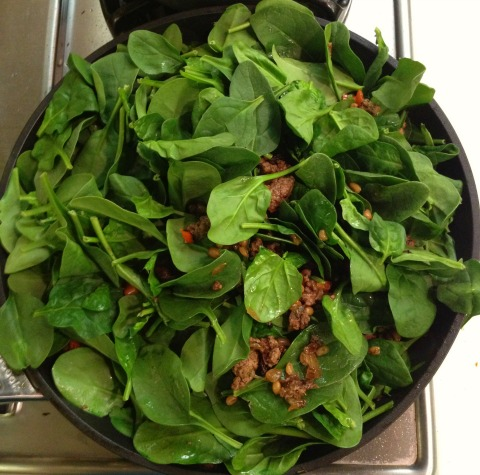 Lamb Skillet with Spelt, Spinach, Rosemary and Raisins on the blog Shockingly Delicious