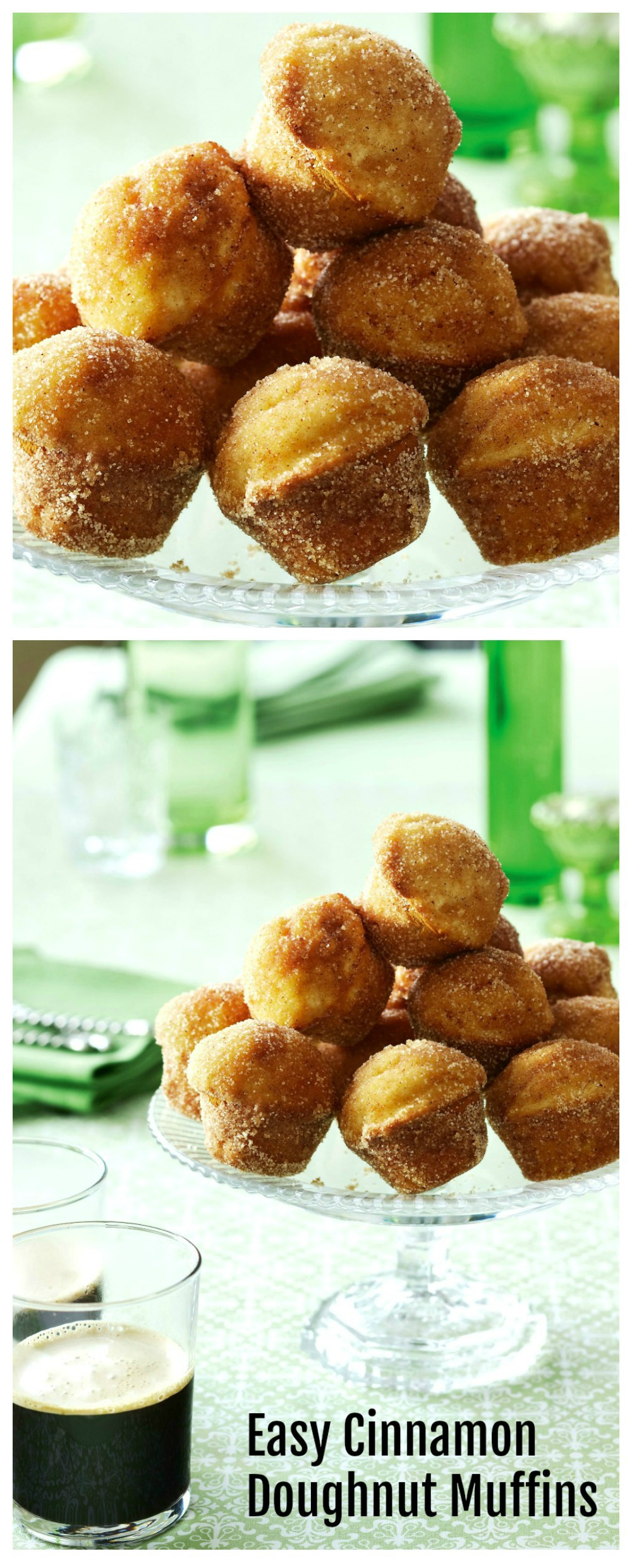 The easiest Cinnamon Doughnut Muffins in the oven on ShockinglyDelicious.com