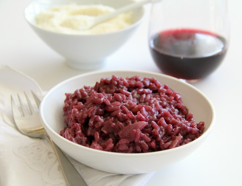Jewel-red, deeply flavored and perfect with beef or roasted meats, Red Wine Risotto makes an elegant side dish for Christmas dinner or any holiday time meal.