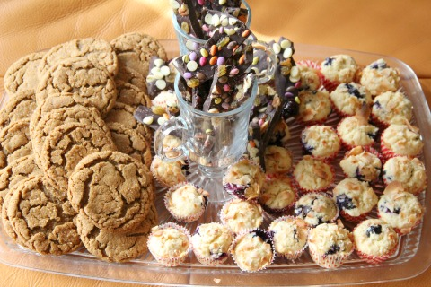 Vegan Gingersnaps, Rainbow Chocolate Bark and Blueberry Coconut Mini Cupcakes from Bumbleberry Breeze