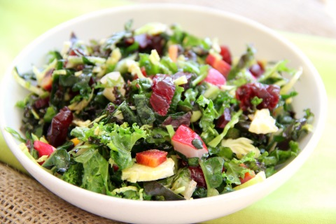 Vegan Christmas Kale Chopped Salad | www.ShockinglyDelicious.com