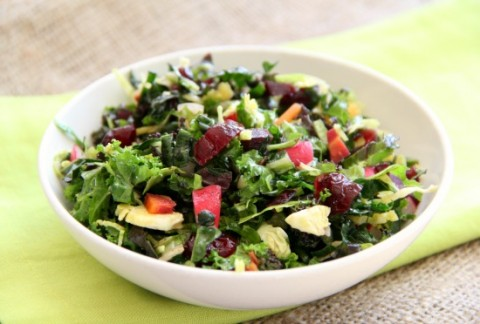 Vegan Christmas Kale Chopped Salad | www.ShockinglyDelicious.com