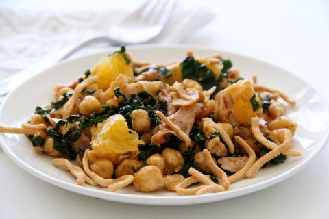 Kale Salad with Chicken, Garbanzos and Oranges with Cherry Chipotle Dressing | www.ShockinglyDelicious.com