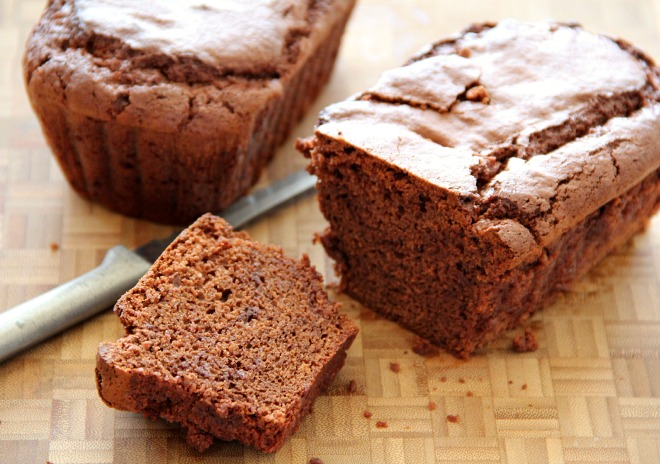 Chocolate Brownie Quick Bread with a piece cut off the end
