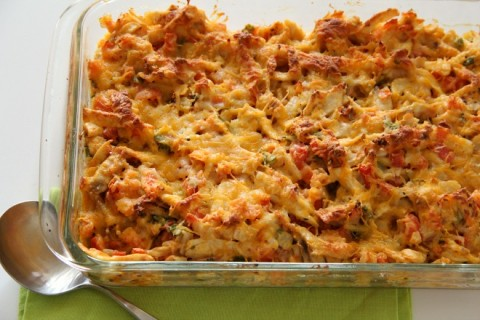 Simple Cheesy Chicken Tortilla Casserole | www.ShockinglyDelicious.com