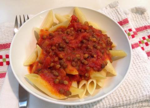 Shortcut Lentil Pasta Sauce | www.ShockinglyDelicious.com