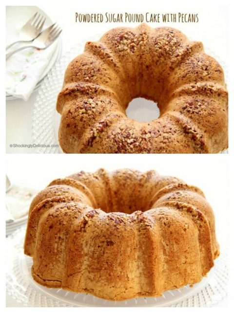 Powdered Sugar Pound Cake with Pecans Recipe on ShockinglyDelicious.com