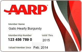 AARP-Membership-Card for Gallo Hearty Burgundy \ www.ShockinglyDelicious.com