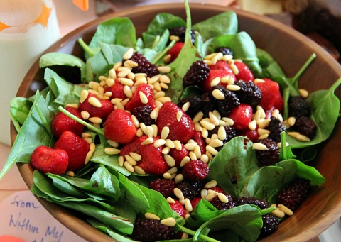 Amaretto Sauce Dressing on Spinach Berry Salad from Within My Means