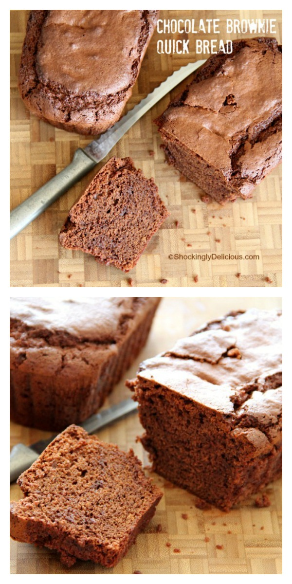 Loaf of Brownie Quick Bread on a wooden cutting board