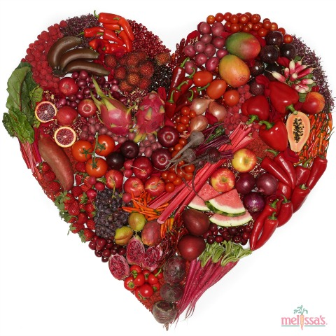 Valentine's Day red heart fruits and vegetables from Melissa's Produce | www.ShockinglyDelicious.com