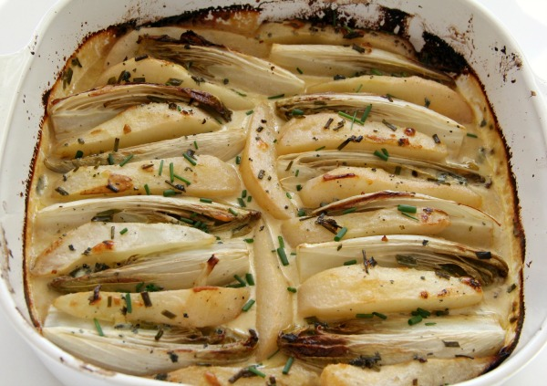 Baked Endive and Pears in Blue Cream Sauce | www.ShockinglyDelicious.com