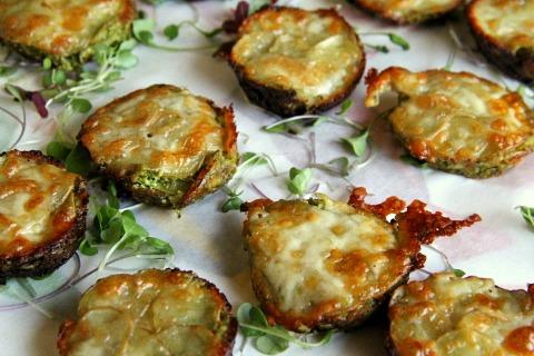 Potato Kale Lasagna Muffins for PotatoPalooza on ShockinglyDelicious.com