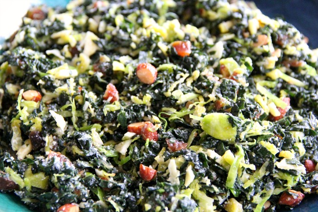 Kale and Brussels Sprout Salad with Dates, Parmesan and Smoked