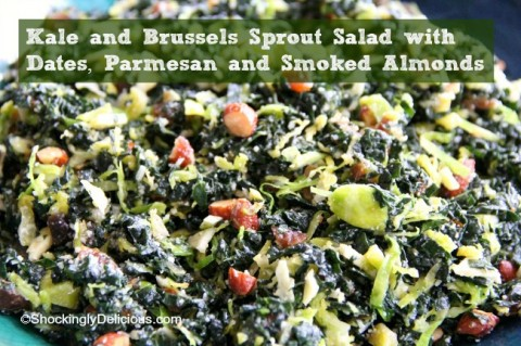 Kale and Brussels Sprout Salad with Dates, Parmesan and Smoked Almonds | www.ShockinglyDelicious.com