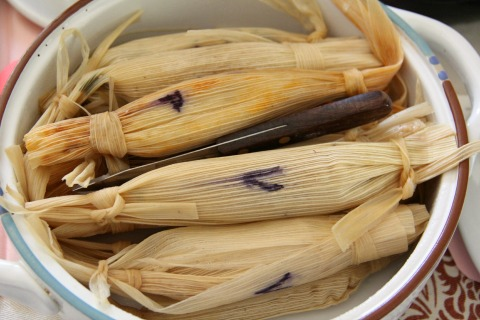 Tamales with Chocolate Mole Sauce from Fresh Food in a Flash
