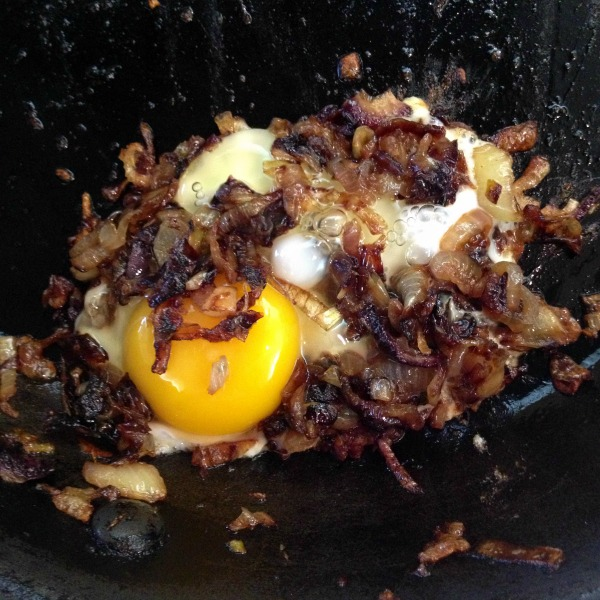 Fried Egg on Caramelized Onions | www.ShockinglyDelicious.com