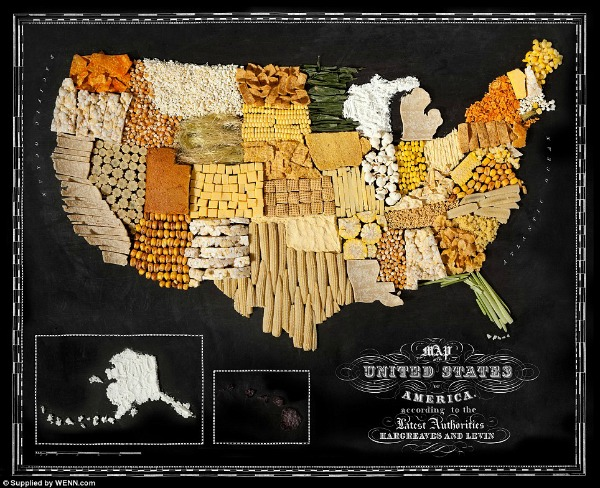 Map of U.S. made of food
