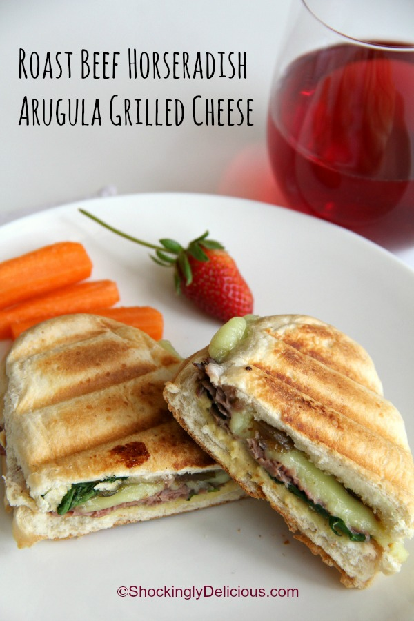 Roast Beef Horseradish Arugula Grilled Cheese | www.ShockinglyDelicious.com
