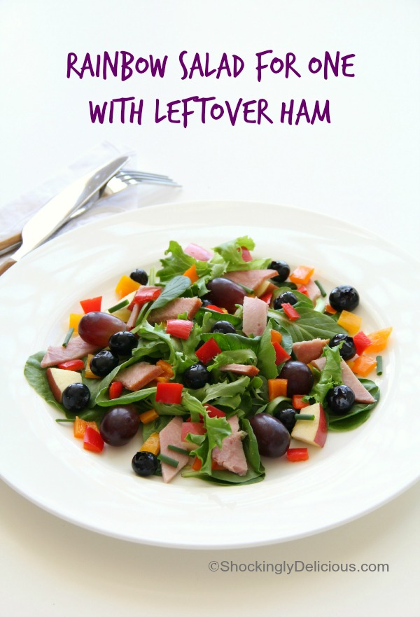Rainbow Salad for One with Leftover Ham | www.ShockinglyDelicious.com