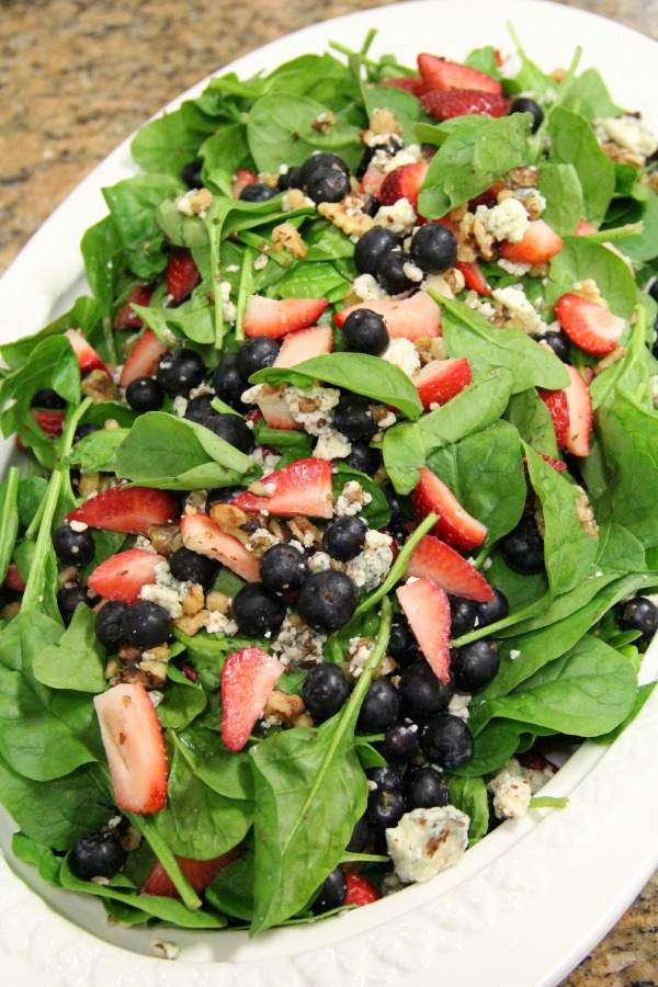 Tropical Spinach Salad with Trinidad Scorpion Vinaigrette on Shockingly Delicious