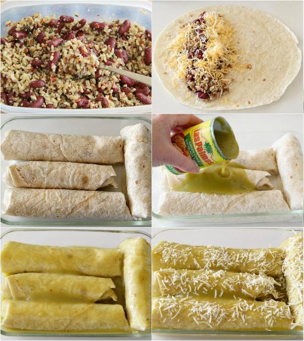 6 photo collage of how to make Vegetarian Wet Burritos on ShockinglyDelicious.com