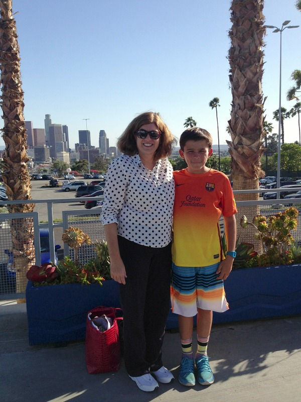 Dorothy Reinhold and Nick Reinhold at Dodger Stadium on Shockingly Delicious