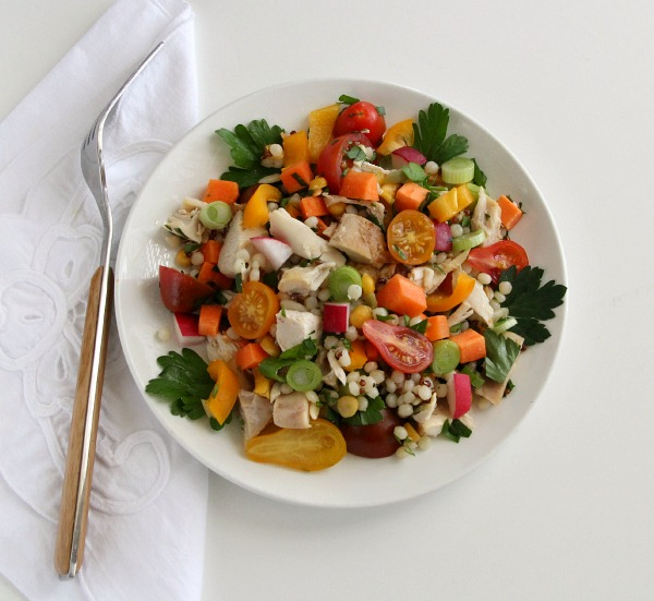 Chicken and Israeli Couscous Vegetable Salad | www.ShockinglyDelicious.com