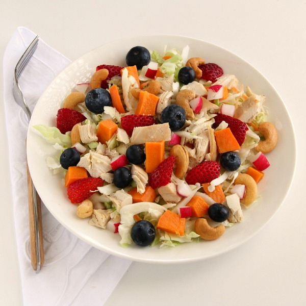 Chicken Salad with Fruit, Nuts and Sweet Potato | www.ShockinglyDelicious.com