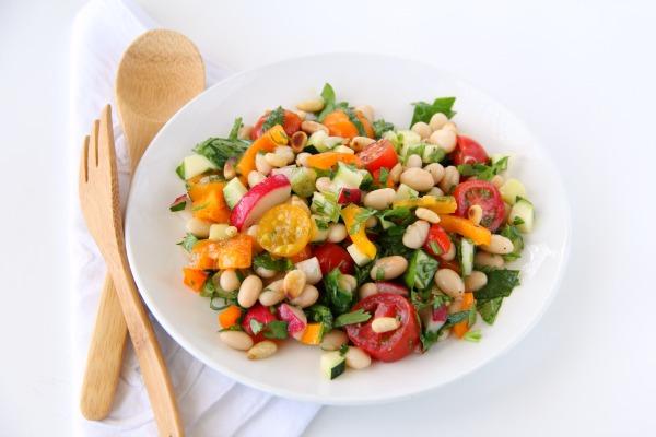 White Bean Cilantro Chopped Vegetable Salad   ShockinglyDelicious.com