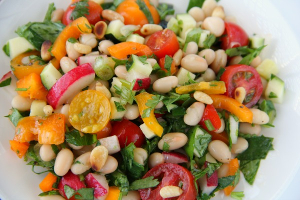 White Bean Cilantro Chopped Vegetable Salad | ShockinglyDelicious.com