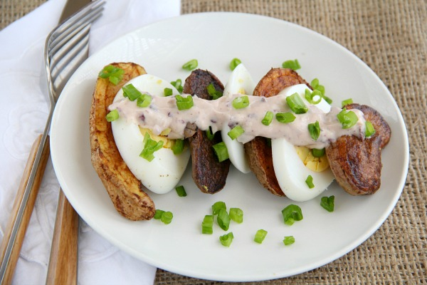 Deconstructed Potato Salad with Smoky Fingerlings | www.ShockinglyDelicious.com