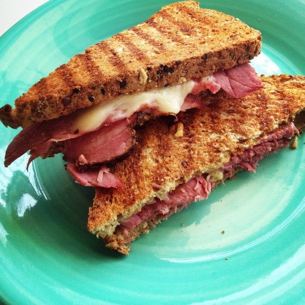 Fork in the Road Pastrami with Kerrygold Dubliner Sandwich on ShockinglyDelicious.com
