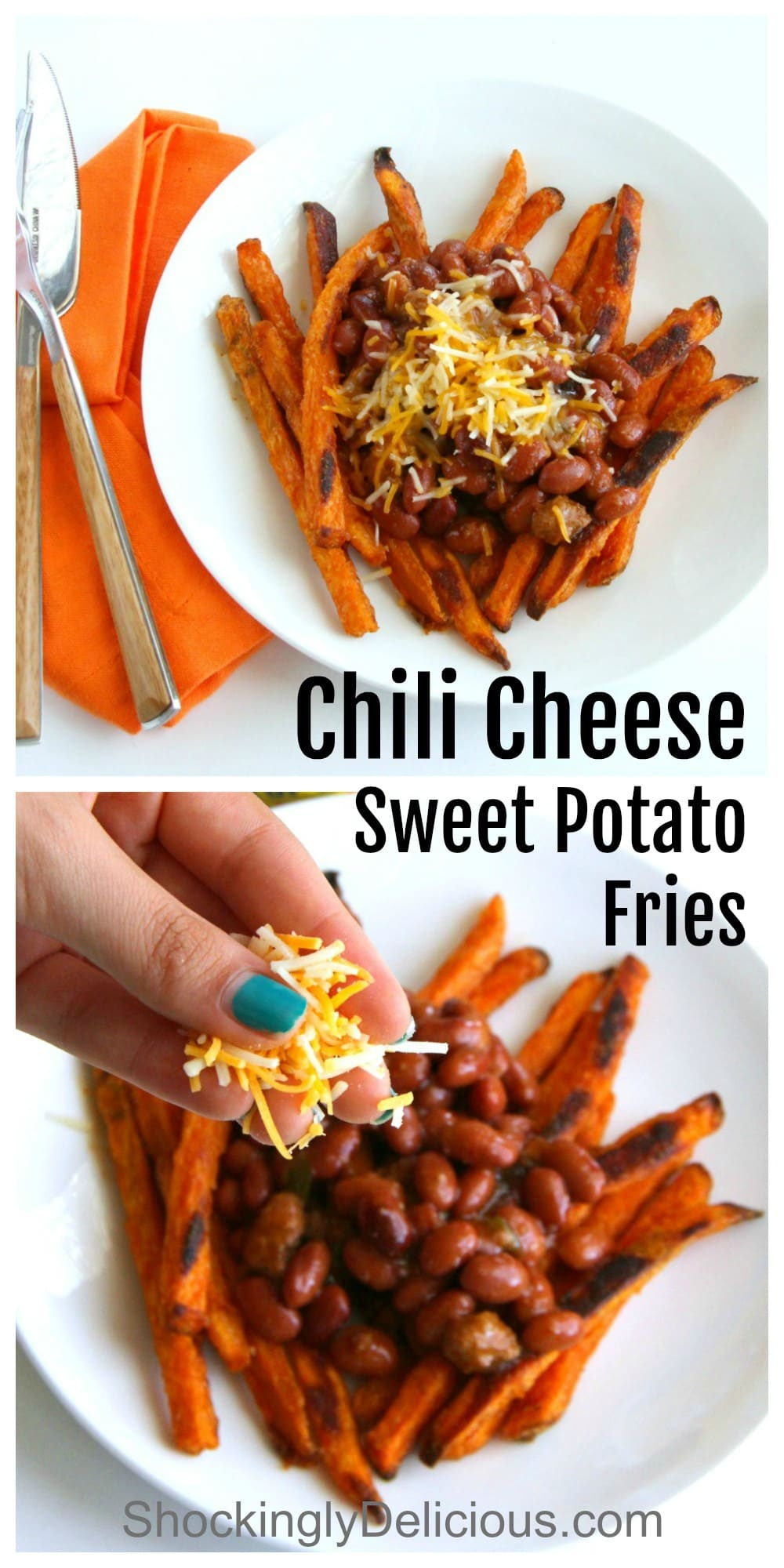 Chili Cheese Sweet Potato Fries easy recipe photo collage for Pinterest