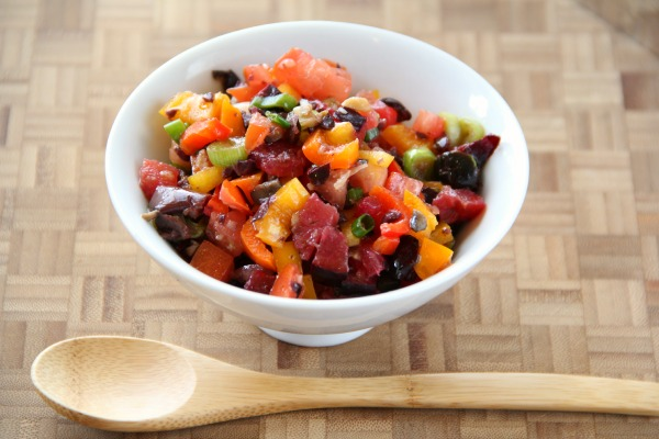 Chunky Plum Salsa Cruda: Sweet plums in season highlight this fresh, rustic chopped salsa, which works well with simple grilled fish, steak or chicken. You could also put it over cooked pasta or greens if you like!