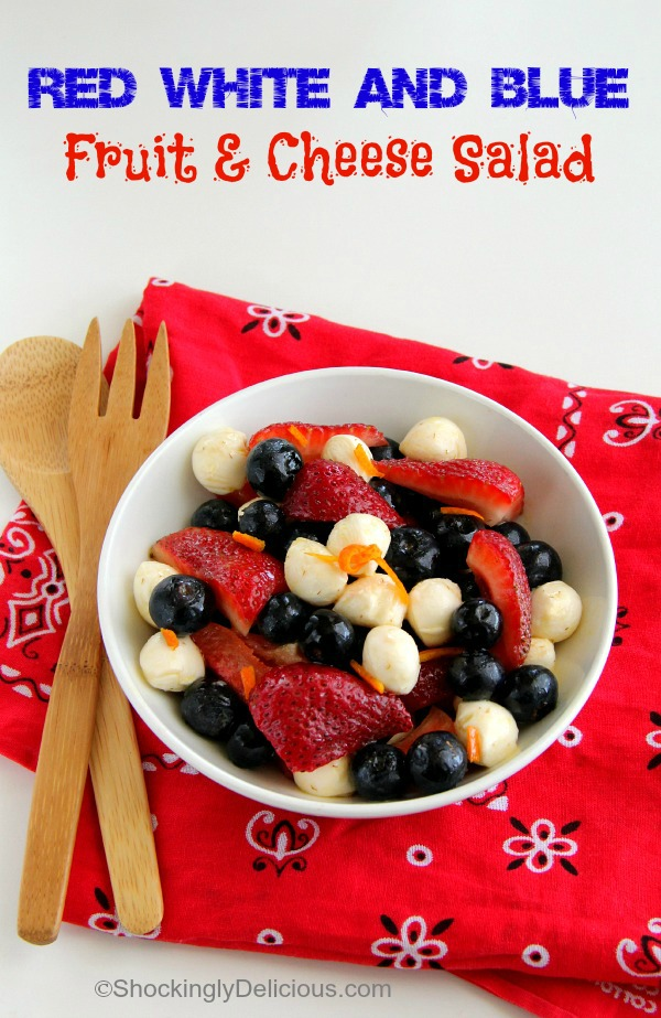 Red, White and Blue Fruit and Cheese Salad in a white bowl on a red bandana | ShockinglyDelicious.com