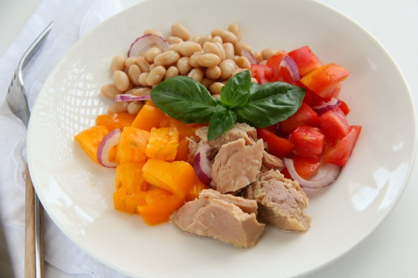 Tuna, Tomato, Bean and Basil Salad uses summer's freshest produce in an easy, no-cook lunch or dinner. | ShockinglyDelicious.com