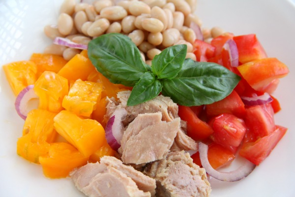 Tuna, Tomato, Bean and Basil Salad | ShockinglyDelicious.com