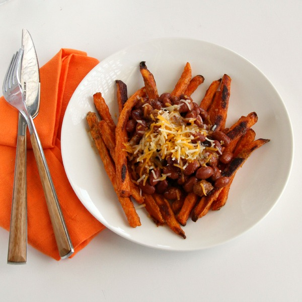 Sweet Potato Fries with Chili and Cheese | ShockinglyDelicious.com