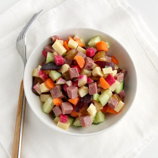 Pastrami-Swiss Summer Vegetable Salad   ShockinglyDelicious.com