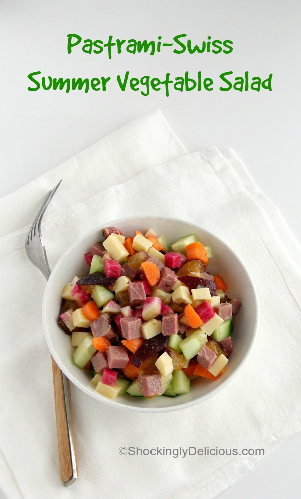 Pastrami-Swiss Summer Vegetable Salad | ShockinglyDelicious.com