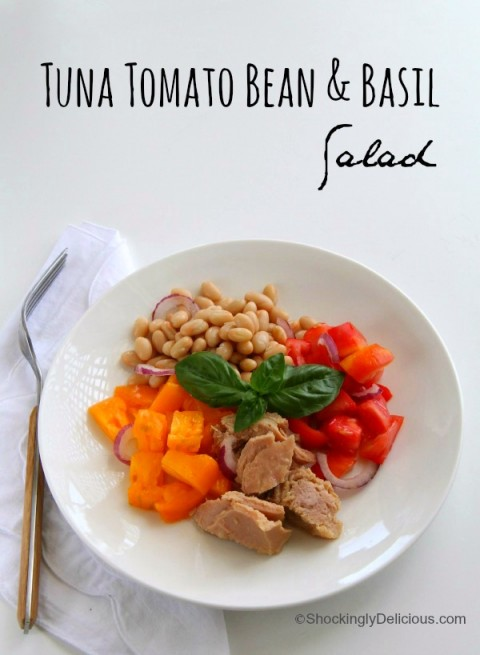 Tuna Tomato Bean and Basil Salad on ShockinglyDelicious.com