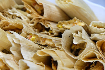 Roasted Chile and Cheddar Tamales | Hatch Chile recipe | ShockinglyDelicious.com