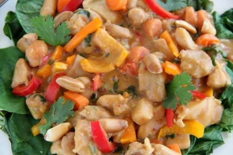 Creamy Peanut Chicken Over Greens |ShockinglyDelicious.com