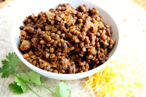 Triple Hatch Chile Lentil Tacos | ShockinglyDelicious.com