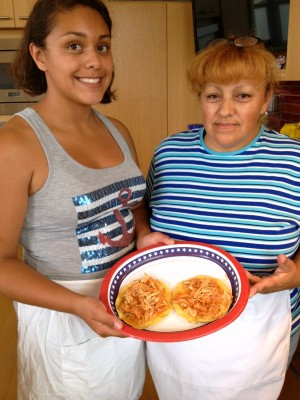 Jennifer Vazquez and mom Adela Morales with their Chicken Tinga on ShockinglyDelicious.com