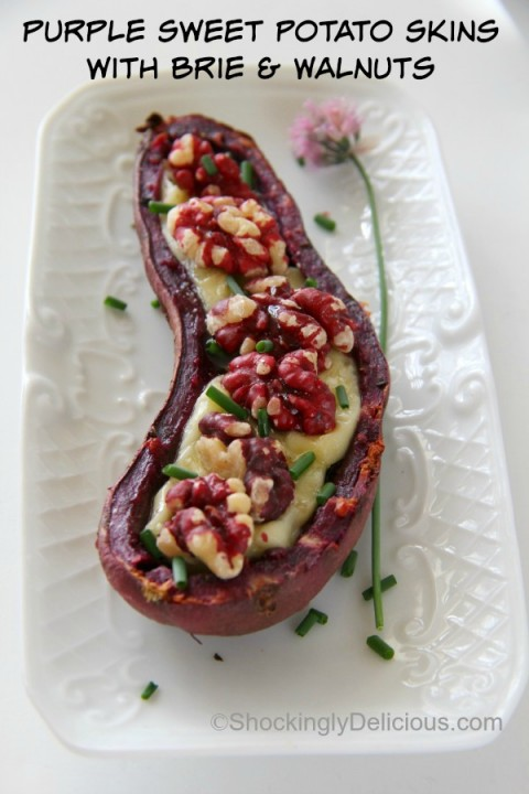 Purple Sweet Potato Skins with Brie and Sweet Walnuts | Shockingly Delicious