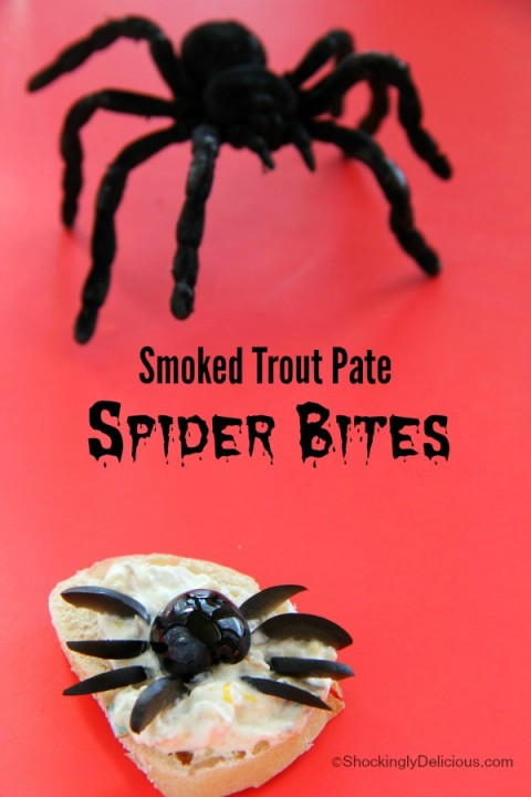 Smoked Trout Pate Spider Bites | Halloween party appetizer recipe | ShockinglyDelicious.com